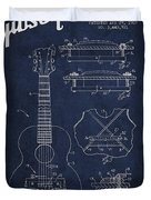 Mccarty Gibson Stringed Instrument Patent Drawing From 1969 - Navy Blue Duvet Cover