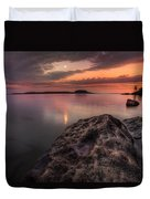 2 Mile Point Sunset And Moonrise Duvet Cover