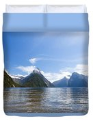 Milford Sound And Mitre Peak In Fjordland Np Nz Duvet Cover