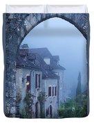 Misty Dawn In Saint Cirq Lapopie Duvet Cover