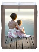 Mother And Daughter On A Wooden Board Walk Duvet Cover