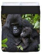 Mountain Gorilla And Infant Duvet Cover