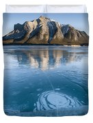 Mt. Michener And Ice On Abraham Lake Duvet Cover