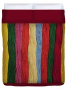 Multicolored Embroidery Thread In Rows Duvet Cover