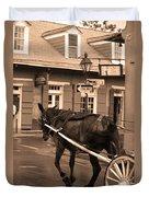 New Orleans - Bourbon Street Horse 3 Duvet Cover