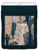 New York City Manhattan Midtown Aerial Panorama View With Skyscr Duvet Cover