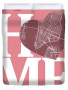 New York Map Home Heart - New York City New Yorkroad Map In A He Duvet Cover