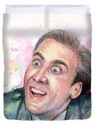 Nicolas Cage You Don't Say Watercolor Portrait Duvet Cover