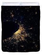 Night Time Satellite Image Of Chicago Duvet Cover