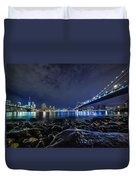 Night View To Manhattan Duvet Cover