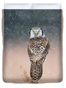 Northern Hawk Owl Duvet Cover