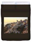 Oia At Sunset Santorini Cyclades Greece  Duvet Cover