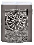 Old Wagon Wheel On Cart Duvet Cover