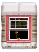 Open Window With Yellow Flower In Vase Duvet Cover