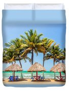 Palm Trees And Sea Duvet Cover