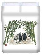 Panda Bear In Bamboo Bush Hand-torn Newspaper Collage Art  Duvet Cover