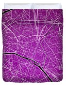 Paris Street Map - Paris France Road Map Art On Colored Backgrou Duvet Cover