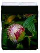 Peony With Rain Drops Duvet Cover