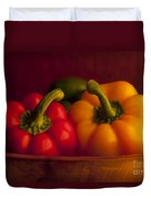 Peppers Still Life Close-up Duvet Cover