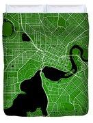 Perth Street Map - Perth Australia Road Map Art On Colored Backg Duvet Cover