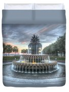Majestic Sunset In Waterfront Park Duvet Cover