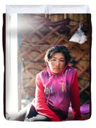 Portrait Of Young Kyrgyz Girl Inside A Yurt China Duvet Cover