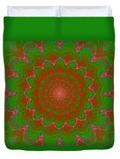 Psychedelic Spiral Vortex Green And Red Fractal Flame Duvet Cover