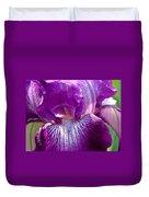 Purple And White Iris Duvet Cover