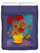 Red And Orange Flowers Duvet Cover