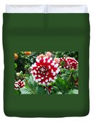 Red And White Flower Duvet Cover