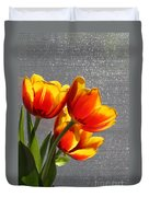 Red And Yellow Tulip's In A Window Duvet Cover by Robert D  Brozek