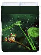Red-eyed Tree Frog In The Rain Duvet Cover