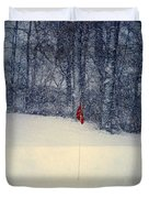 Red Flag On The Snow Covered Golf Course Duvet Cover