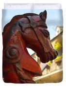 Red Horse Head Post Duvet Cover