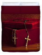 Red Velvet Box With Cross And Rosary Duvet Cover