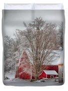 Red Vermont Barn Duvet Cover