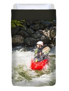 Red Whitewater Kayak Duvet Cover