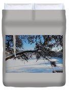 Redbud Tree In Winter Duvet Cover