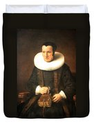 Rembrandt's An Old Lady With A Book Duvet Cover