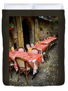 Restaurant Patio In France Duvet Cover by Elena Elisseeva
