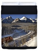 Rocky Mountains In Winter Duvet Cover