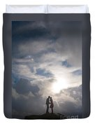 Romantic Couple On A Mountain Peak Duvet Cover