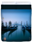 Row Of Gondolas At Sunrise Venice Italy Duvet Cover