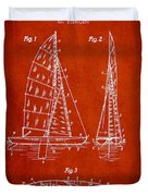 Sailboat Patent Drawing From 1938 Duvet Cover