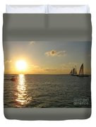 Sailing Into The Sunset - Key West Duvet Cover