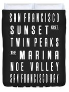 San Francisco City Subway Sign Duvet Cover