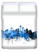 Seattle Washington Skyline Duvet Cover by Michael Tompsett