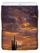 Silhouetted Saguaro Cactus Sunset At Dusk With Dramatic Clouds Duvet Cover