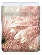 2 Silver Pink Painterly Gerber Daisies Duvet Cover