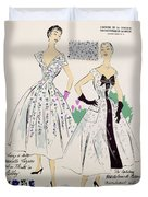 Vintage Fashion Sketches And Fabric Swatches Duvet Cover